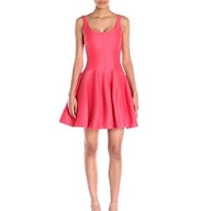 Halston Heritage coral fit and flare dress NWT